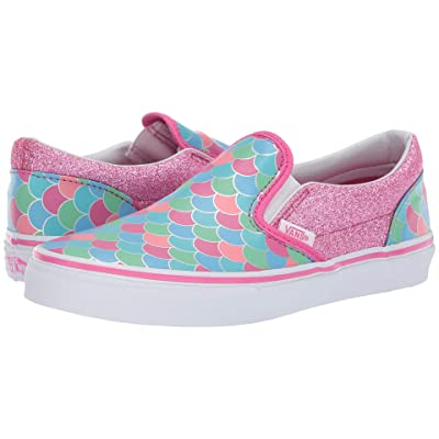 Vans Kids Classic Slip-On (Little Kid/Big Kid) ((Mermaid Scales) Carmine Rose/True White) Girls Shoes