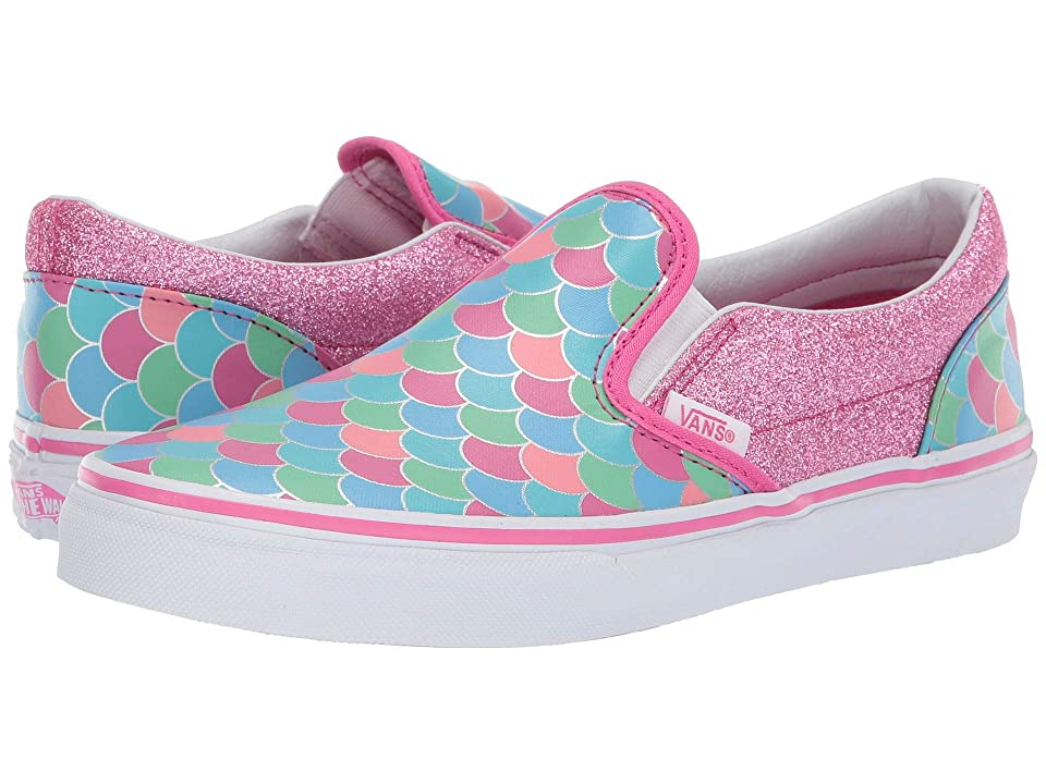 Vans Kids Classic Slip-On (Little Kid/Big Kid) ((Mermaid Scales) Carmine Rose/True White) Girls Shoes