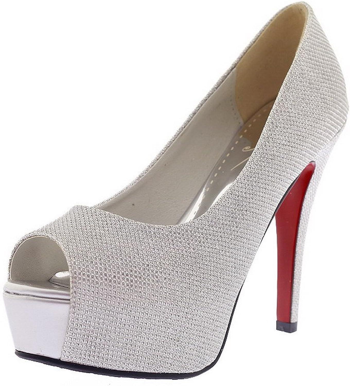 WeenFashion Women's Blend Materials Solid Pull On Peep Toe Spikes Stilettos Sandals