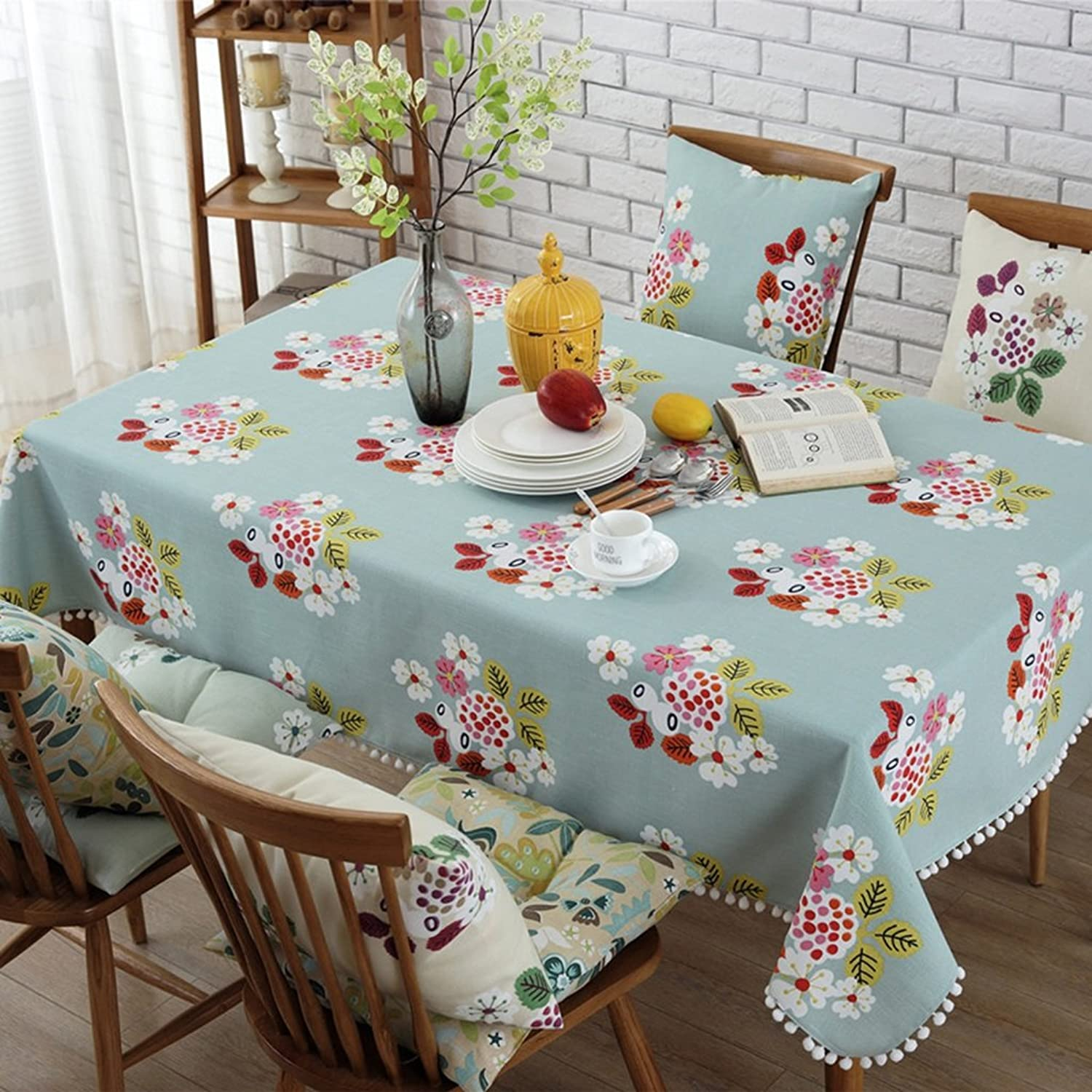 Gtt Cotton and linen Tablecloths Table flag Coffee cover cloth towel Place mat Table mat pattern plant flowers elegant Distinguished (color   Red, Size   35  200cm (table flag))