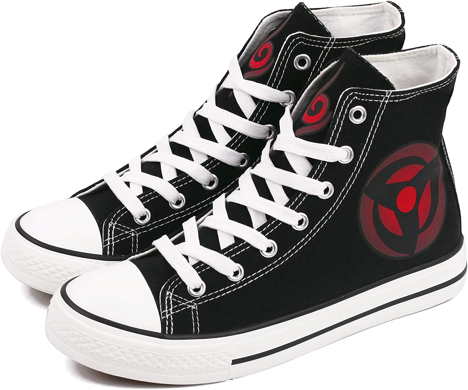E_LOV Naruto Anime Sharingan Logo Hand-Painted Canvas shoes High Top Sneakers Anime Painted Cosplay shoes for Women and Men Black