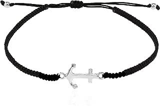 Anchor of Hope .925 Sterling Silver Cotton Rope Adjustable Wrist Pull Bracelet