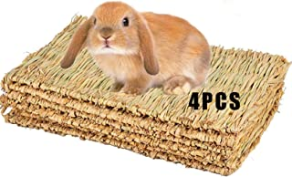 Grass Mat for Rabbit Bunny Chew Toys Woven Bed Mat for Guinea Pig hilla Squirrel Hamster Cat Dog and Small Animal 4PCS