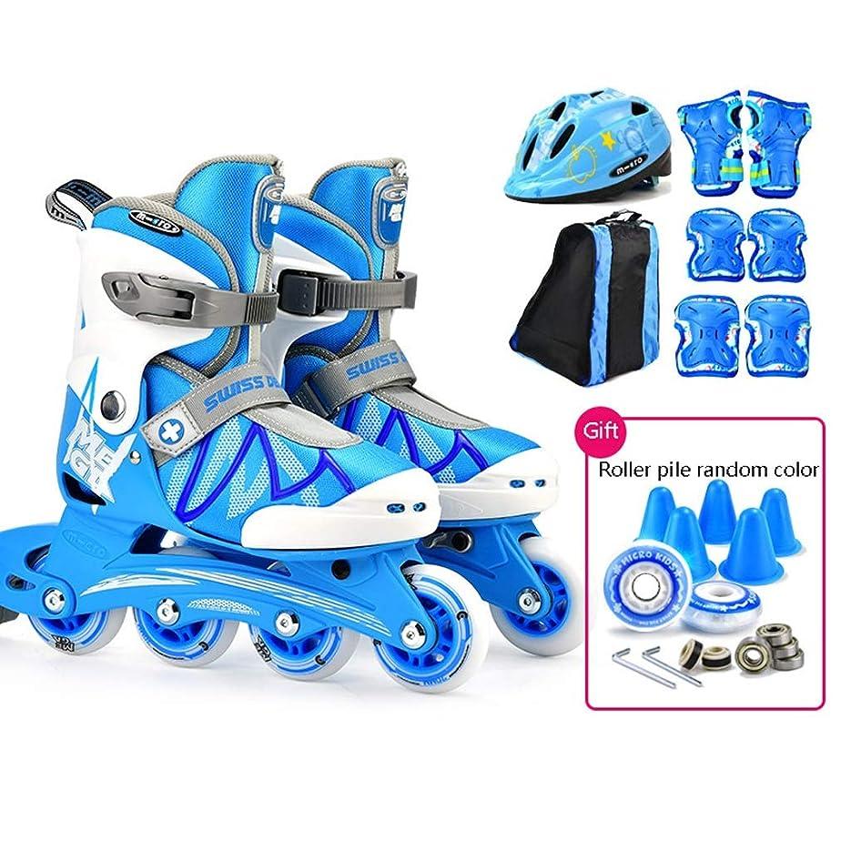 検体混合した天のインラインスケート 初心者インラインスケート、子供用単列スケート、男性用および女性用プロスピードスケートシューズローラースケート(青とピンク) (Color : Blue, Size : L (EU 35-38))