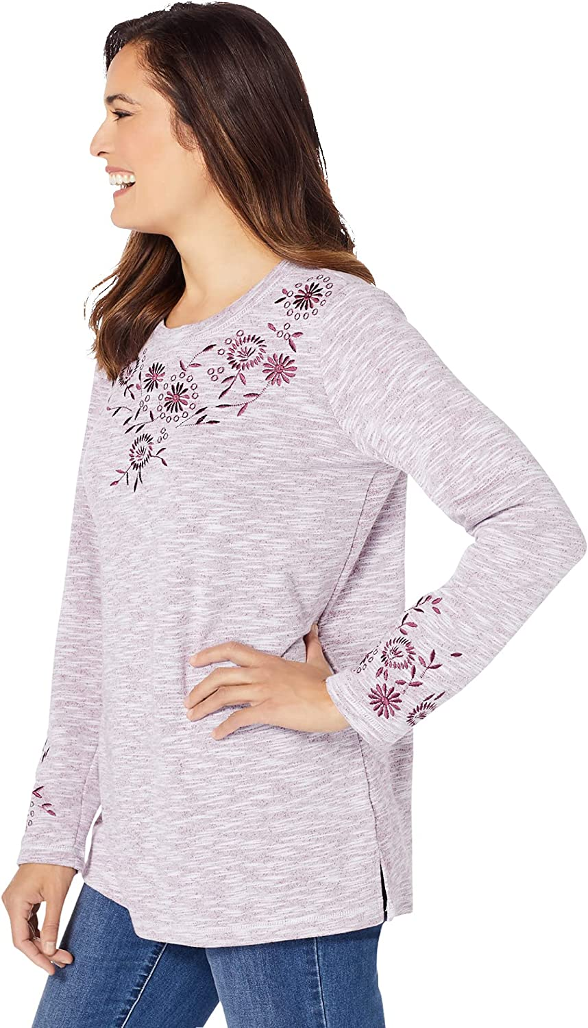 Woman Within Women's Plus Size Floral Embroidered Sweatshirt Tee