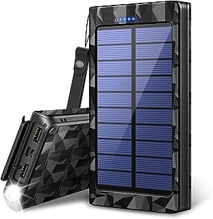 【2019最新版&LEDライト付き】24000mAh モバイルバッテリー ソーラーチャージャー ソーラー充電器 大容量 急速充電 QuickCharge 2USB出力ポート 太陽光で充電可能 防水 耐衝撃 災害/旅行/アウトドアに大活躍に iPhone/iPad/Android対応 (ブラック)