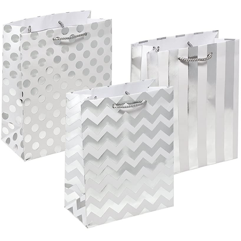 12 Metallic Silver Gift Bags Medium Sized with Rope Handle Polka Dots, Stripes & Chevron Exquisite Designs for Bridesmaid Wedding Christmas Holiday Birthday