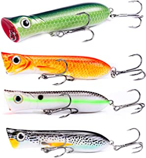 ZWMING Topwater Fishing Lures Popper Baits in Tackle Box Lifelike Swimbait for Bass Pike Musky Perch Freshwater Saltwater Hard Bait