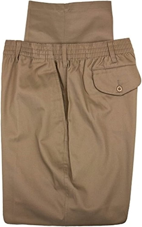 Full Elastic Pant Big Mens Sizes, with Belt Loops, Zipper Front, 4 Full Pockets