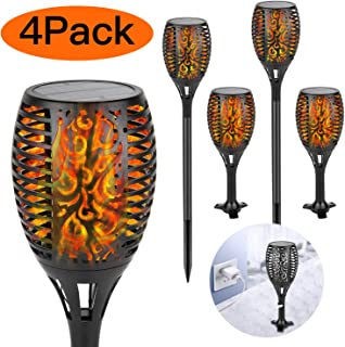 Solar Torch Light with USB Charging Flickering Flame Shinmax Solar Lights Outdoor 96 LED Auto On/Off Dusk to Dawn IP65 Waterproof Solar Garden Light Decoration for Pathway&Patio Driveway(4 Packs)