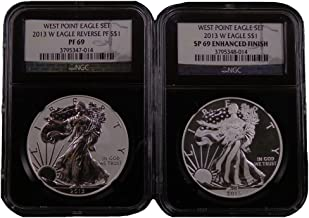 2013 W American Silver Eagle West Point 2pc Set BLACK LABEL Dollar NGC PF69