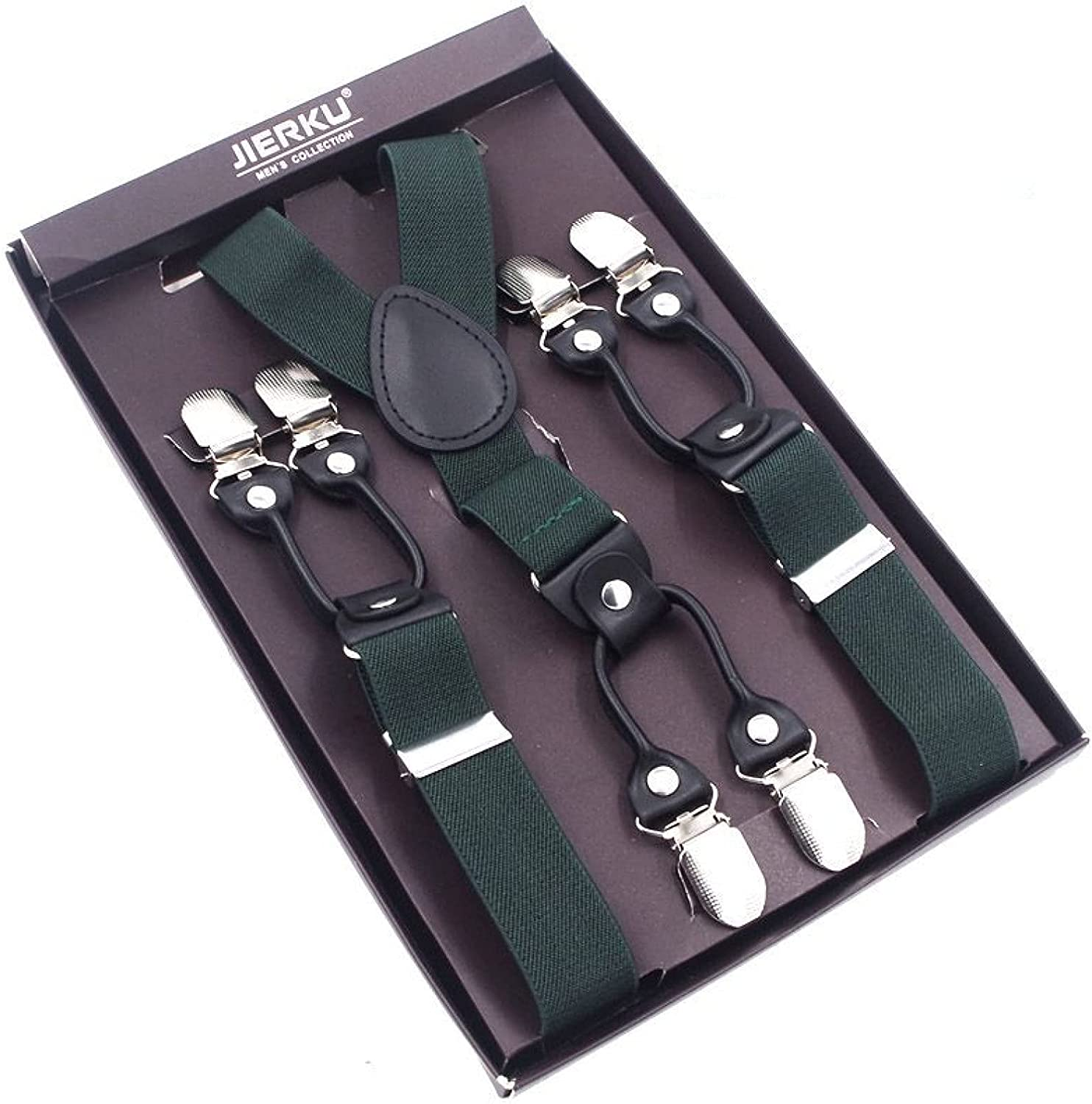 MASKUOY Suspenders Black Leather 6 Clips Braces Male Vintage Casual Trousers Strap Father/Husband's Gift 2.5120Cm