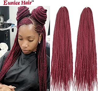 Eunice 6 Packs 30 Inch Long Box Braid Style Crochet Hair 22 Roots/Pack Synthetic Hair Crochet Braid 3S Small Box Braids (Burgundy)