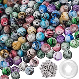 Quefe 500pcs 8mm Multi Color Acrylic Round Loose Beads in Ink Patterns with 50pcs Spacer Beads and Crystal String for Bracelets Jewelry Making