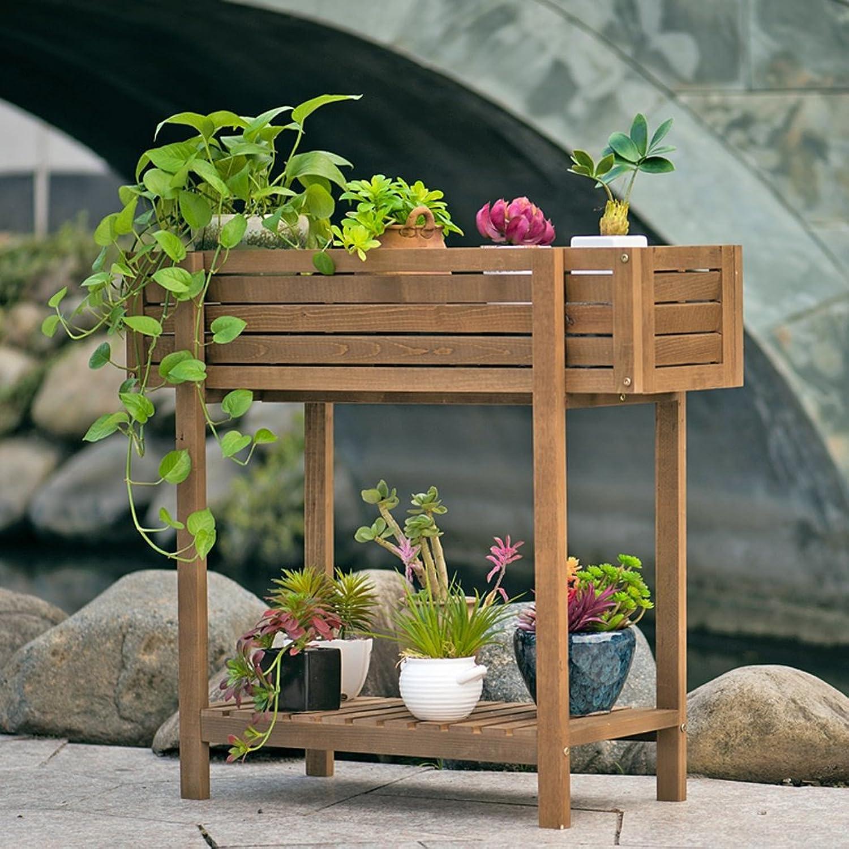 NYDZDM Flower Pot Storage Box Solid Wood Flower Stand, Balcony Floor Wooden Flower Pot Rack Living Room Indoor Flower Shelf (Size   80  30.5  72.5cm)