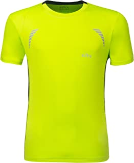 ZITY Men Sport T-Shirts,Quick Dry Short Sleeves Tee Fruit Green and Black XXXL