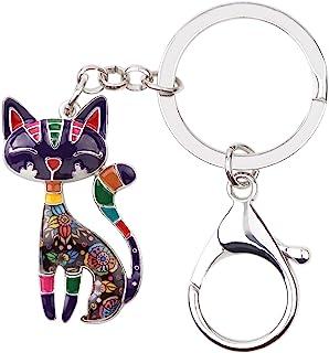 Bonsny Enamel Alloy Chain Cat Key Chains For Women Car Purse Handbag Charms