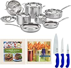 Cuisinart MCP-12N MultiClad Pro 3-Ply Stainless Steel 12-Piece Cookware Set with 2 Cookbooks, and Set of 3 Knives Bundle (...