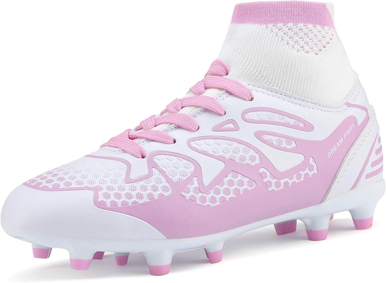 DREAM PAIRS Big Kid 160858-K White Pink Fashion Soccer Football Cleats Shoes Size 6 M US Big Kid