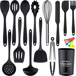 FineTess Silicone Cooking Utensils Set, 15 Pcs Kitchen Utensil Set Non-stick, Heat Resistant Cookware Set Tools with Spatu...