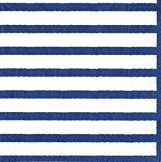 Caspari Bretagne Paper Luncheon Napkins, Pack of 20, Blue