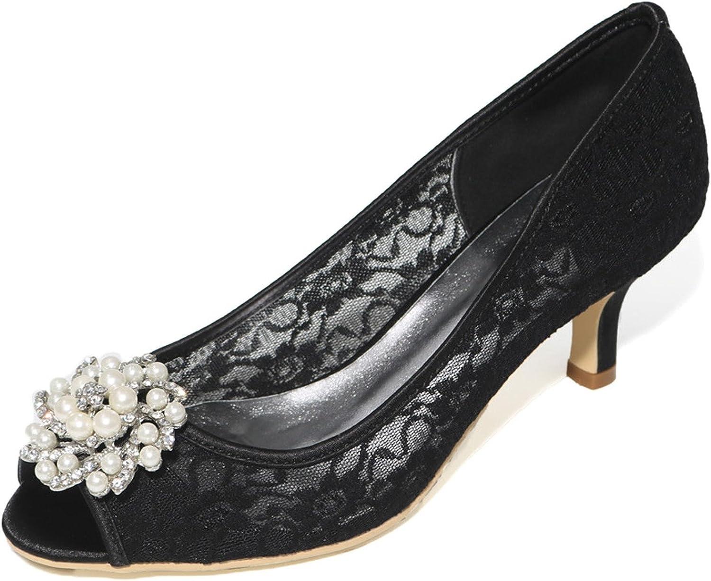 Elobaby Frauen Hochzeit Schuhe Knchelriemen Satin Seide wie Peep Toe Spitze High Heels Plattform   6cm Ferse