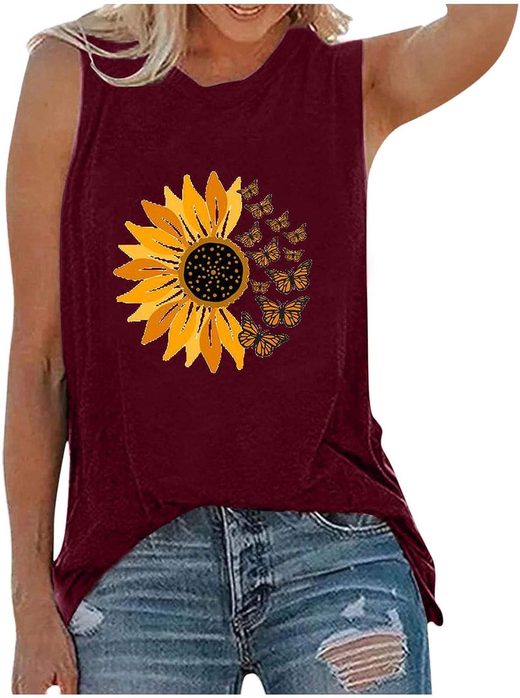 ManxiVoo Women's Summer Fresno Mall Sleeveless Sunflower Print T Max 52% OFF Casual Tank