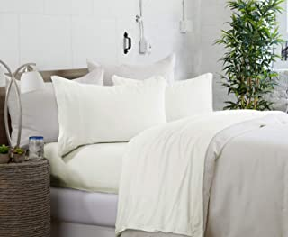 Royale Linens Brooklyn Flat Jersey White Twin/Twin Extra Long Sheet Set