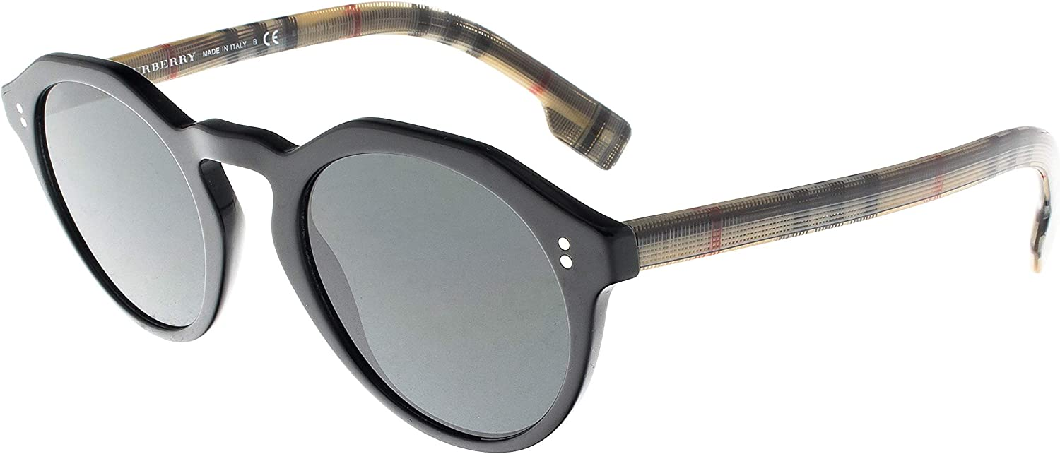 Burberry BE4280 375787 Black BE4280 Round Sunglasses Lens Category 3 Size 48mm