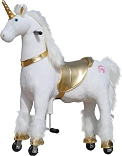Medallion - My Pony Ride On Real Walking Horse for Children 5 to 12 Years Old or Up to 110 Pounds (Color Medium Golden Unicorn) for Girls 5 to 12 Years Old