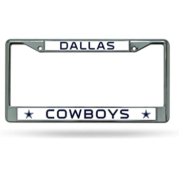 NFL Dallas Cowboys Chrome License Plate Frame,12-Inch by 6-Inch,Silver