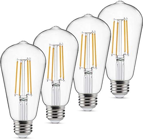 Dimmable Vintage LED Edison Bulbs 60 Watt Equivalent, Eye Protection Led Bulb with 95+ CRI, Warm White 2700K, ST58 An...