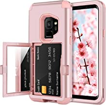 BENTOBEN Wallet Case for Galaxy S9, Shockproof Heavy Duty Rugged 3 in 1 Hybrid Hard PC Cover Soft TPU Bumper Anti-Scratch Protective Phone Case with Card Slot Holder for Samsung Galaxy S9, Rose Gold