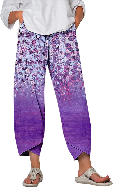 MASZONE Linen Capris Pants for Women with Pocket Fashion Colorful Cropped Harem Pants Elastic Waist Wide Leg Trousers