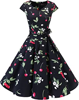 d6bf22649275 DRESSTELLS Retro 1950s Cocktail Dresses Vintage Swing Dress with Cap-Sleeves