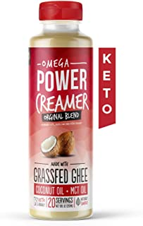 Omega PowerCreamer - Original Keto Coffee Creamer - Grass-fed Ghee, MCT Oil, Organic Coconut Oil - Liquid Butter Blend - Paleo, Ketogenic, Zero Carb, Sugar Free, Unsweetened, 10 fl oz (20 servings)