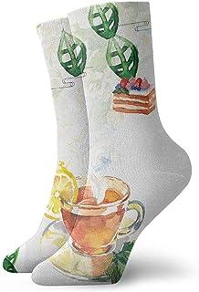 tyui7, Heypik Calcetines de compresión de color antideslizante de té de la tarde Calcetines de atletismo acogedores de 30 cm para hombres, mujeres y niños