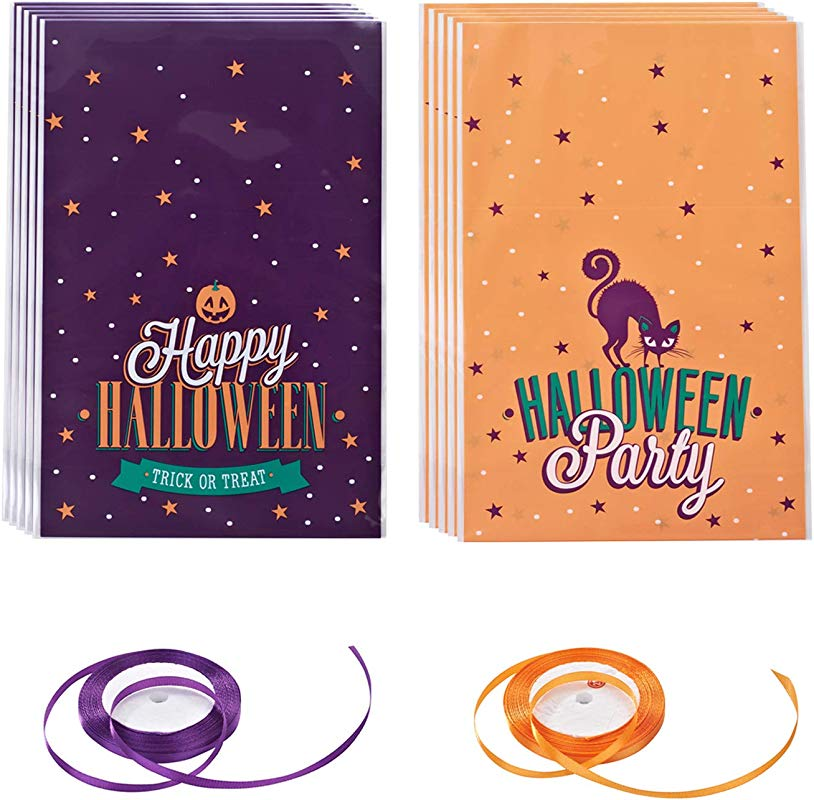 Topoox 100 Pack Halloween Trick Or Treat Plastic Candy Treat Bags With Ribbon For Homemade Craft Halloween Party Favors 5 5 X 8 1 Inches