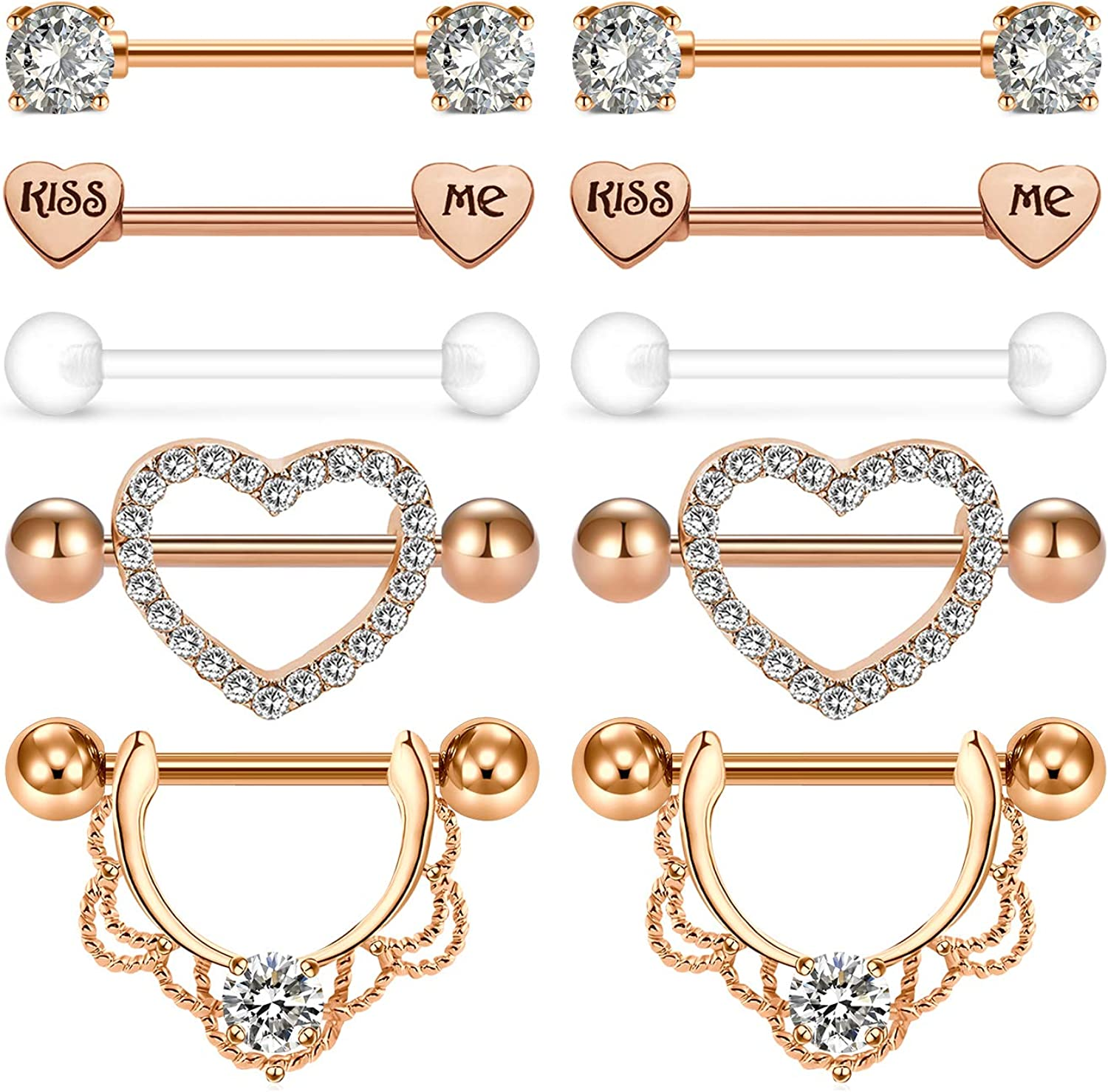 AceFun Surgical Steel Nipple Shield Rings Nipple Barbell Piercing Jewelry Retainer 14G Clear CZ for Women Men 4-18 PCS