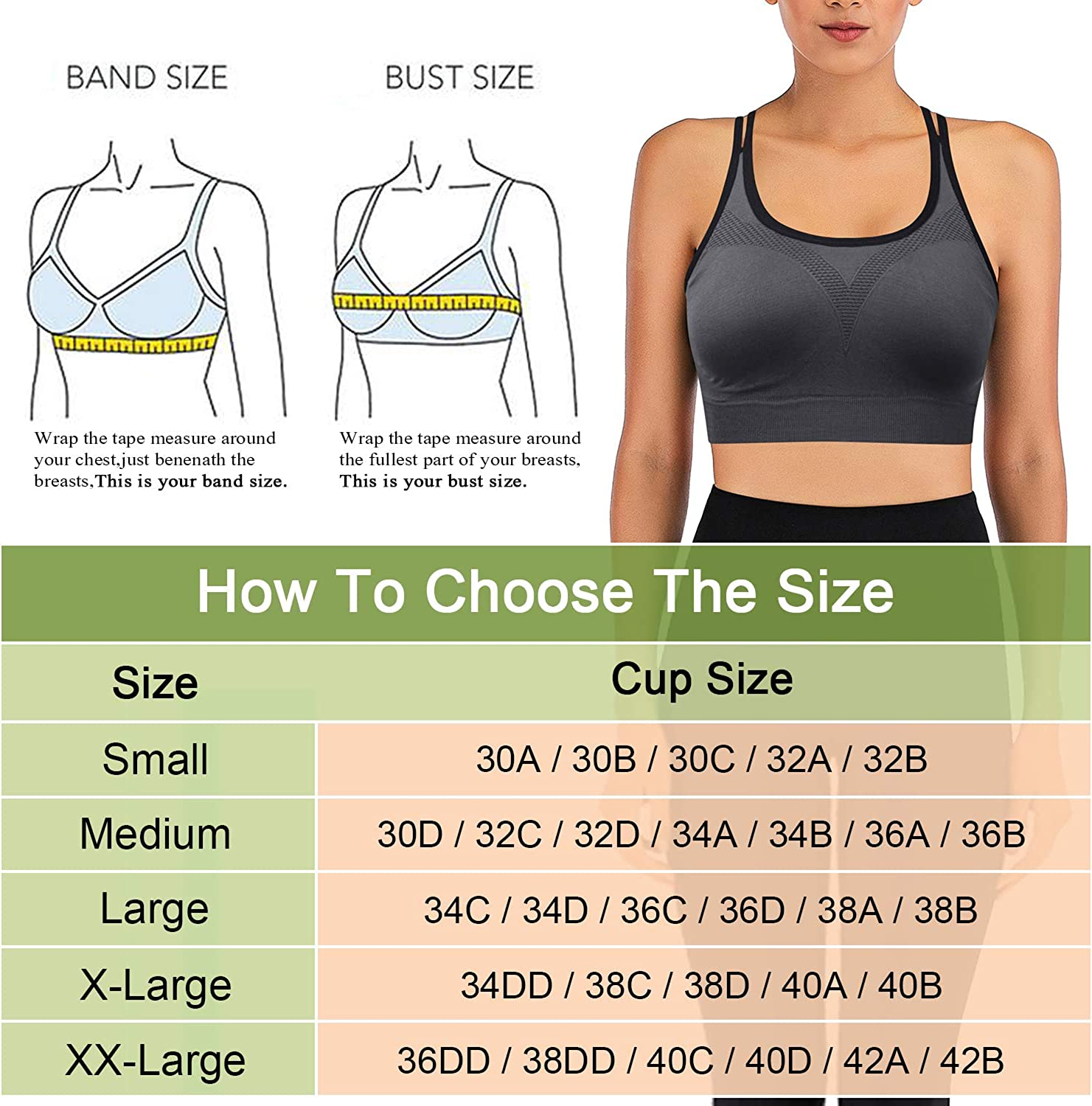 Womens Sports Bras Racerback Wirefree Padded Comfort Workout Bras for Yoga Fitness