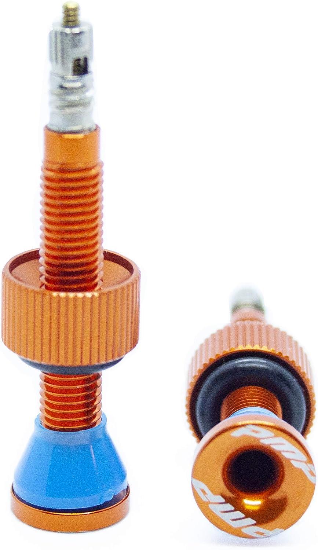 PMP Bike Par de v/álvulas Tubeless MTB Tipo Presta largas 50 mm Solo 4 g de Peso por Unidad