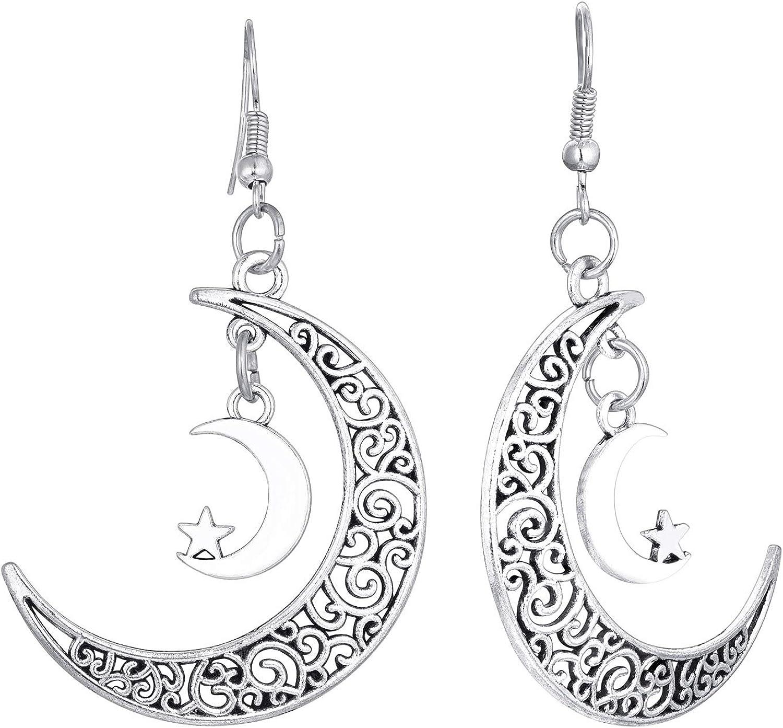 Star Child Angel Crescent Moon Earrings