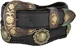 Mens Brass Classic Berry Concho Scalloped Genuine Leather Belt