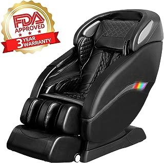 Lernonl Zero Gravity Zero Space Design Full Body Massage Chair SL Dual Track Design Body Detection Function, Yoga Stretch, Lower Back Heating, Space Saving (Black)