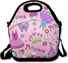 Lunch Bags for Women Men Insulated Fantasy Girl Princess Pattern Ballerina Tiara Groovy Butterfly Crown Ballet Cute Tutu Cupcake Design Lunch Tote School for Child