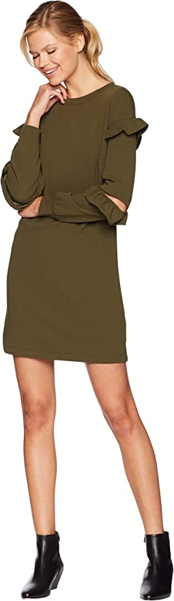 Ruffle Sleeve Detail Sweatshirt Dress