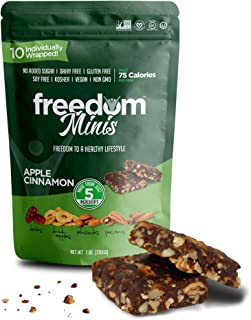 Freedom Minis, Healthy Fruit and Nut Bar - Dairy and Gluten Free, Organic Energy Snack - 10 pcs, Pack of 1 Apple Cinnamon Flavor