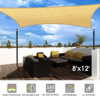 Homitt 8' x 12' Sun Shade Sail, UV Block Sand Rectangle Shade Sail Canopy..