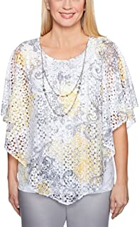 Alfred Dunner Women's Charleston Lave Overlay T-Shirt