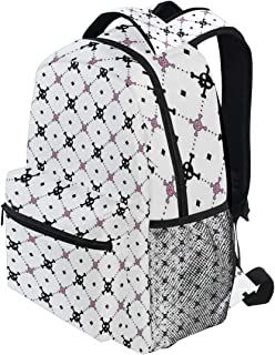 KVMV Girly Skull and Crossbones Pattern in Simple Artistic Design Lightweight School Backpack Students College Bag Travel Hiking Camping Bags